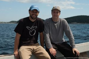 Bryan Wallace (left) and Mike James (right) on the turtle boat off Nova Scotia.